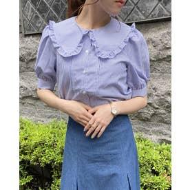BIGフリル衿/5分袖BL (ブルー/ストライプ)