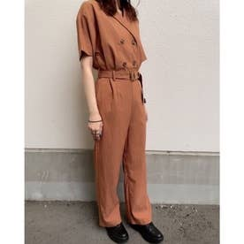 リネンライク/ジャンプスーツ (オレンジ)