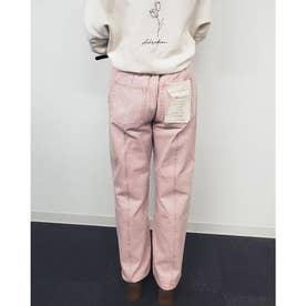 センターシームストレート硫化染めパンツ (ピンク)