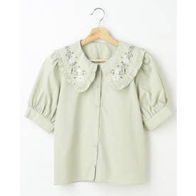 襟刺繍/ブラウス (ミントグリーン)