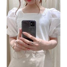 袖異素材TOPS (オフホワイト)