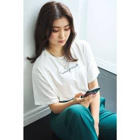 刺繍ロゴTシャツ (オフホワイト/クロ)