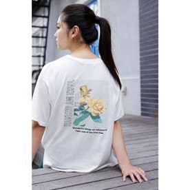 BACKフラワーフォトプリントTシャツ (オフホワイト)