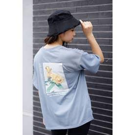 BACKフラワーフォトプリントTシャツ (ブルー)