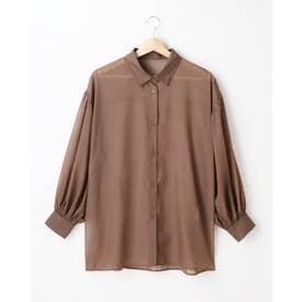 ラメシアーボリュームスリーブシャツ (ブラウン)
