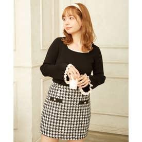 配色切替ツイード台形/スカート (オフホワイト/クロ)