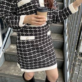 ツイードニットスカート (クロ/アイボリー)