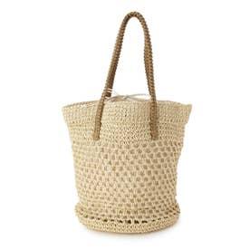 透かし編み巾着バケツバッグ (アイボリー)