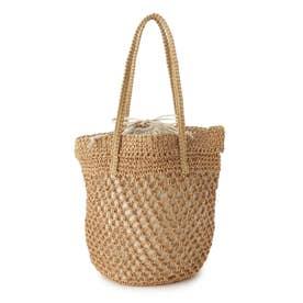 透かし編み巾着バケツバッグ (ベージュ)