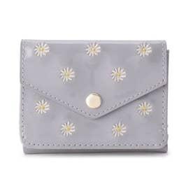 フラワー刺しゅうエナメルミニ財布 (グレー)