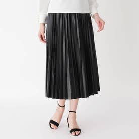 フェイクレザープリーツスカート (ブラック)