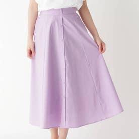 防シワフロントフェイクボタンスカート (ライトパープル)