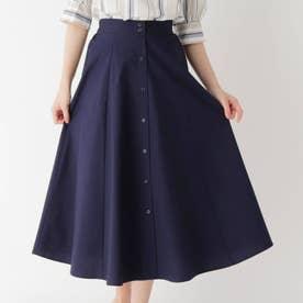 防シワフロントフェイクボタンスカート (ネイビー)