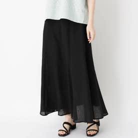 リネン混ロングマーメイドスカート (ブラック)