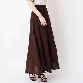 リネン混ロングマーメイドスカート (ブラウン)