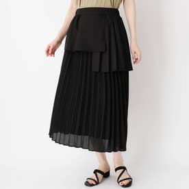 レーヤード風プリーツ切り替えスカート (ブラック)
