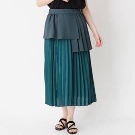 レーヤード風プリーツ切り替えスカート (グリーン)