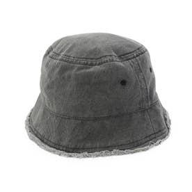 ウォッシュデニムフリンジバケット (ブラック)