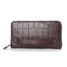 日本製 クロコ型押し 牛革 国産 レザー ウォレット クラッチ 手持ち財布 (チョコ)