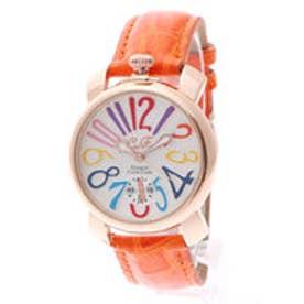 【専用ケース付き】トップリューズ式ドレスウォッチ ビッグフェイス腕時計 カラフル文字盤40mm (A(オレンジ&ゴールド))