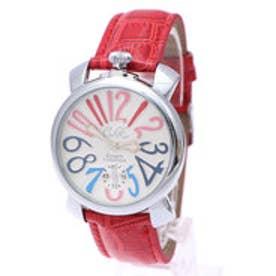 【専用ケース付き】トップリューズ式ドレスウォッチ ビッグフェイス腕時計 カラフル文字盤40mm (E(レッド&シルバー))