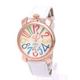 【専用ケース付き】トップリューズ式ドレスウォッチ ビッグフェイス腕時計 カラフル文字盤40mm (F(ホワイト&ゴールド))