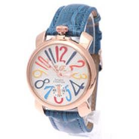 【専用ケース付き】トップリューズ式ドレスウォッチ ビッグフェイス腕時計 カラフル文字盤40mm (I(ブルー&ゴールド))