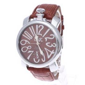 【専用ケース付き】トップリューズ式ビッグフェイス腕時計 マットタイプ47mm (B(ブラウン/ブラウン))