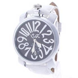 【専用ケース付き】トップリューズ式ビッグフェイス ドレス腕時計 プレーンタイプ47mm (D(ホワイト/ブラック))