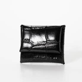 クロコ型押レザー カードケース ウォレット ミニケース (ブラック)