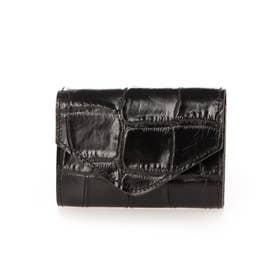 日本製 クロコレザー カードケース ミニウォレット (ブラック)