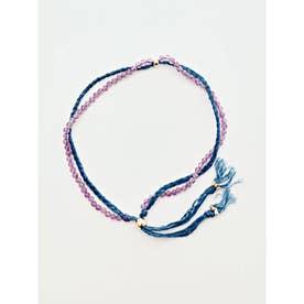 【岩座】本藍染め 綿麻アンクレット 足飾り 藍 パープル