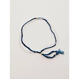 【岩座】本藍染め 綿麻アンクレット 足飾り 藍 クリア