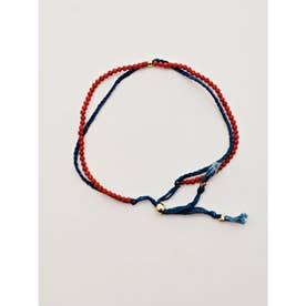 【岩座】本藍染め 綿麻アンクレット 足飾り 藍 レッド