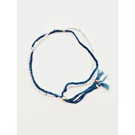 【岩座】本藍染め 綿麻アンクレット 足飾り 藍 ホワイト