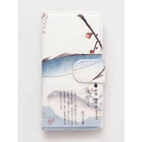 【岩座】iPhone7対応 手帳型携帯衣 魚づくし いなだとふぐ 歌川広重 ホワイト×ブルー