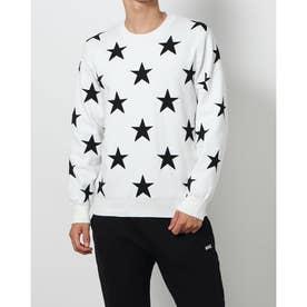 メンズ ゴルフ 長袖セーター 星柄ジャガードニット 2621270913 (ホワイト)