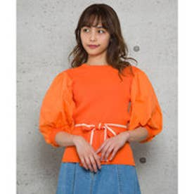 ボリューム袖リブニットトップス (オレンジ)