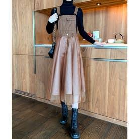 チュールレイヤードジャンパースカート (ブラウン)