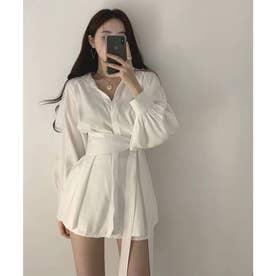 オーバーサイズシャツ&ショートパンツセットアップ (ホワイト)