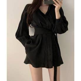 オーバーサイズシャツ&ショートパンツセットアップ (ブラック)