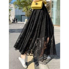 パネルレースロングギャザースカート (ブラック)