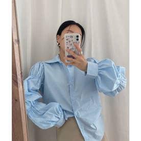 ギャザースリーブシャツ (ブルー)