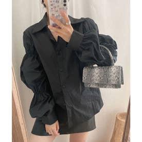 ギャザースリーブシャツ (ブラック)