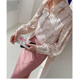水彩柄オーバーシャツ (ピンク)