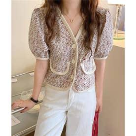 フラワー刺繍パイピングジャケット (レッド)