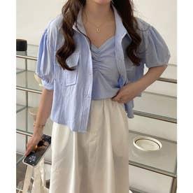 ルーズパフスリーブシャツ&シャーリングショートキャミセット (ブルー)