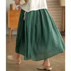 綿麻ギャザーフレアスカート (グリーン)