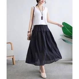 綿麻ギャザーフレアスカート (ブラック)
