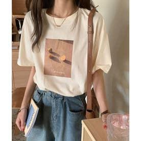 フォトプリントTシャツ (ベージュ)